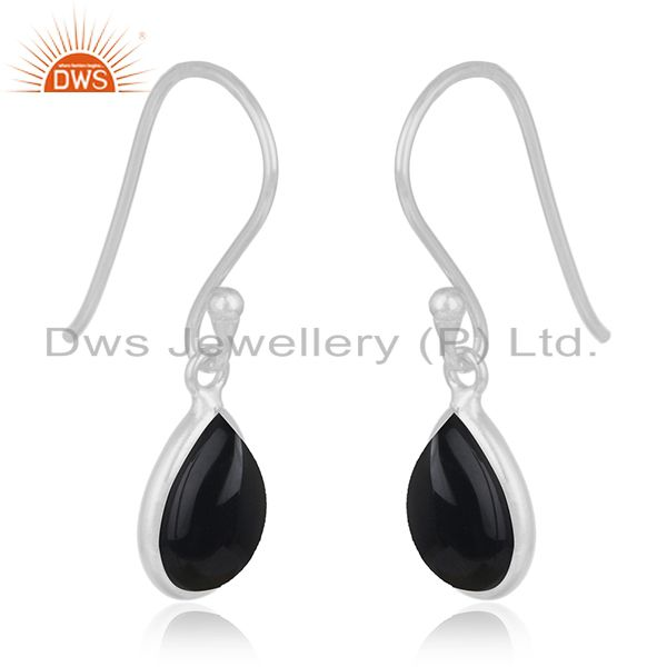 Exporter Genuine Black Onyx Gemstone 925 Sterling Fine Silver Drop Earring Manufacturer