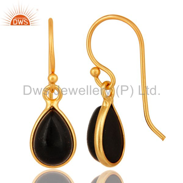 Manufacturer of Genuine Black Onyx Gemstone Sterling Silver Drop Earrings - Gold Plated