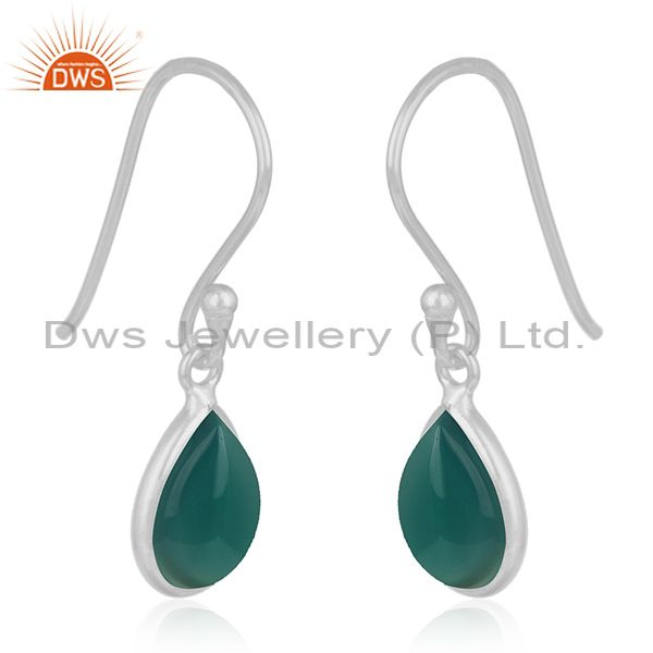 Exporter 92.5 Sterling Fine Silver Green Onyx Gemstone Handmade Earring Wholesale Jewelry