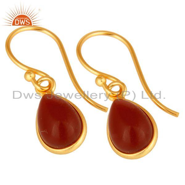Exporter Natural Red Onyx Gemstone Drop Earrings In 18K Gold Over Sterling Silver