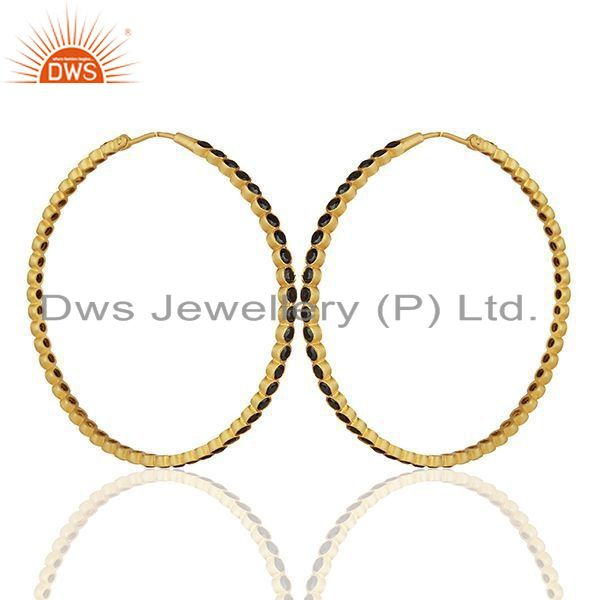 Exporter 925 Sterling Silver Black Cubic Zirconia 24k Yellow Gold Plated Hoop Earrings