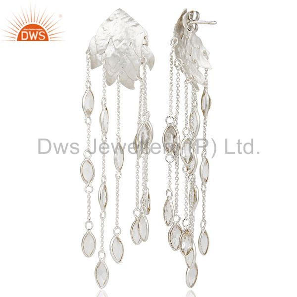 Suppliers Handmade Solid Sterling Silver Crystal Quartz Gemstone Chain Chandelier Earrings