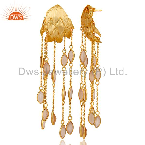 Suppliers 18k Gold Plated 925 Silver Chalcedony Gemstone Chain Chandelier Drop Earring