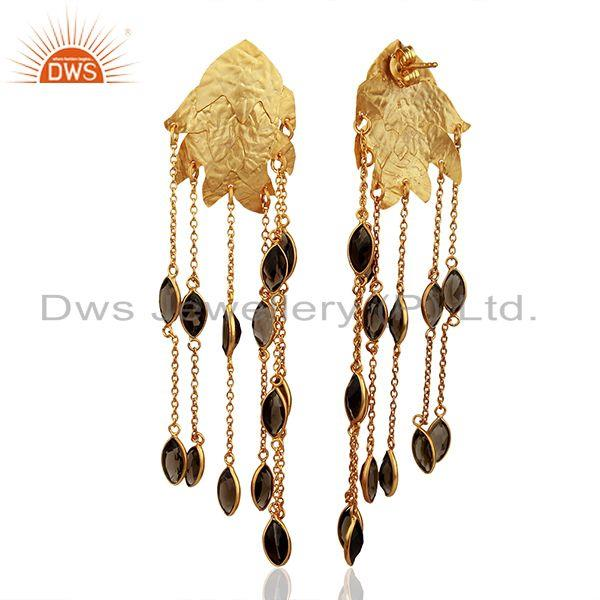 Exporter 22K Yellow Gold Plated Sterling Silver Smoky Quartz Chain Chandelier Earrings