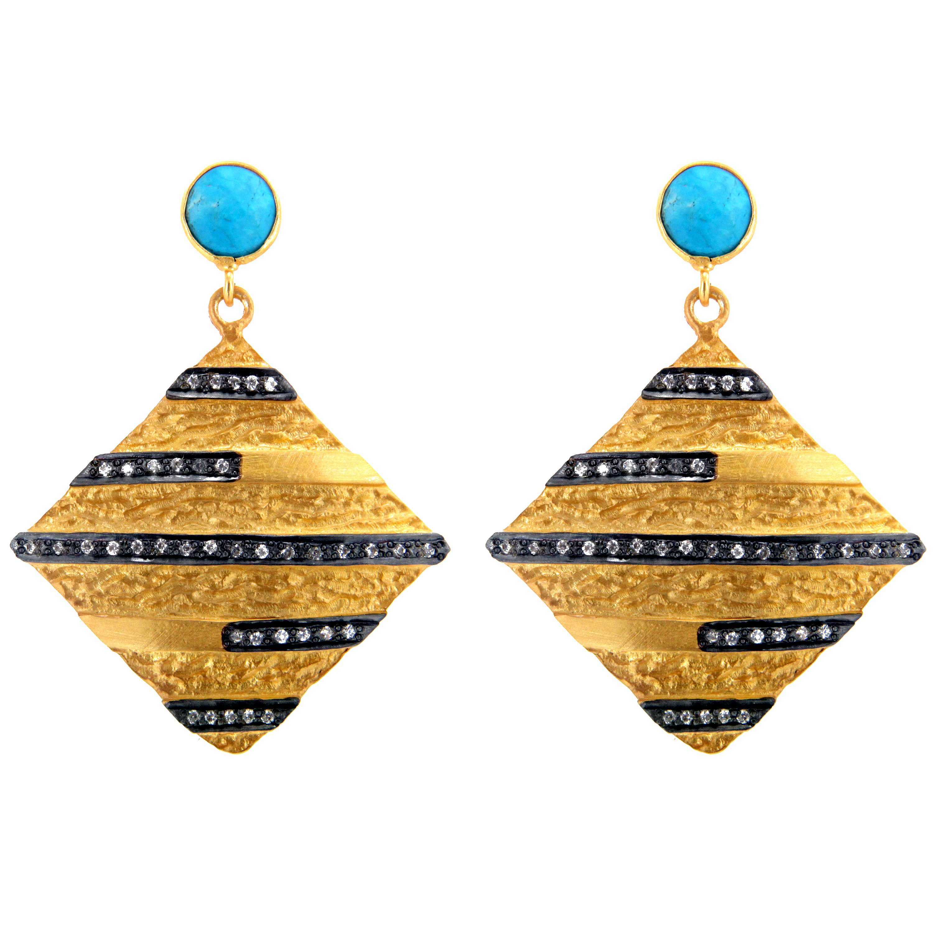 Exporter 18K Yellow Gold Plated Sterling Silver Turquoise And CZ Designer Dangle Earrings