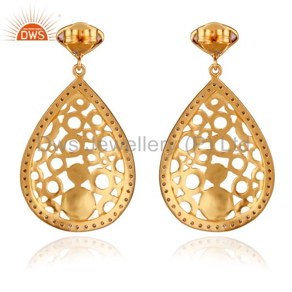 Exporter 24K Yellow Gold Plated Brass Pink Glass And CZ Filigree Design Dangle Earrings
