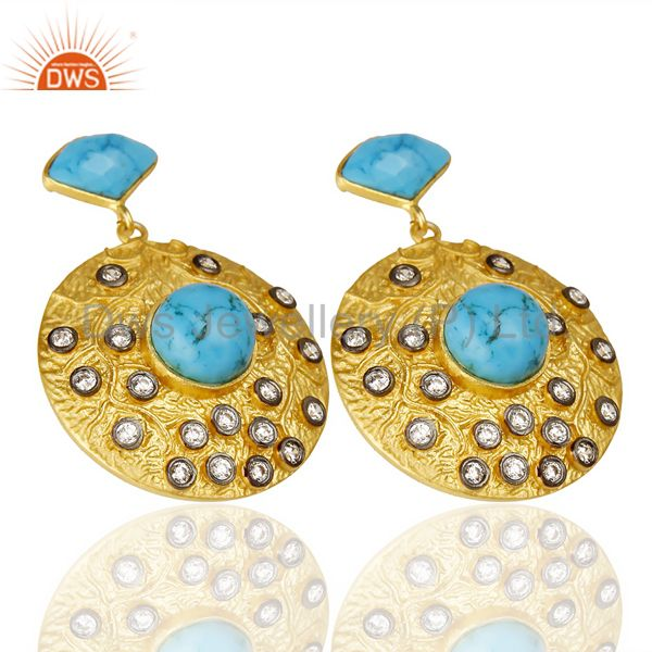 Exporter 18K Yellow Gold Plated Brass Turquoise & Cubic Zirconia Disc Fashion Earrings