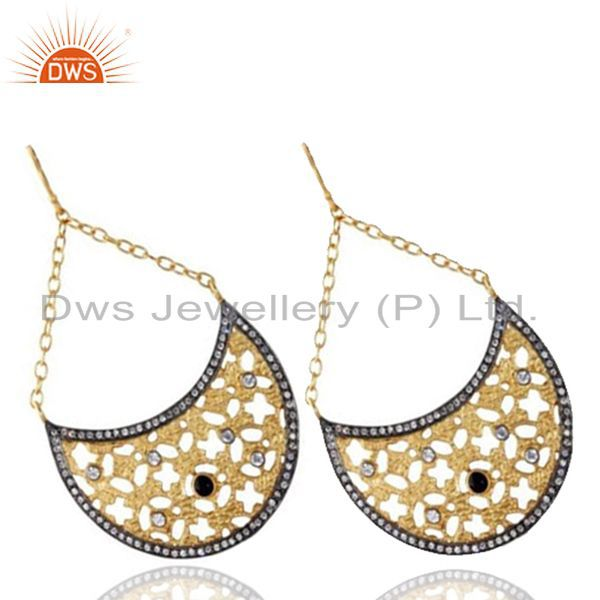 Exporter 24K Yellow Gold Plated Brass Black Onyx And CZ Filigree Half Moon Drop Earrings