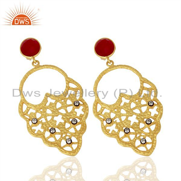 Exporter 22K Yellow Gold Plated Pink Corundum And CZ Hammered Fashion Dangle Earrings
