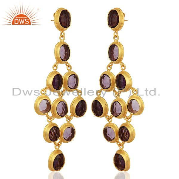Exporter Hydro Amethyst Gemstone Gold Plated Silver Fashion Earrings Jewelry