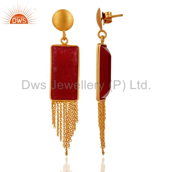 Exporter 18K Yellow Gold Plated Sterling Silver Red Aventurine Chain Chandelier Earrings