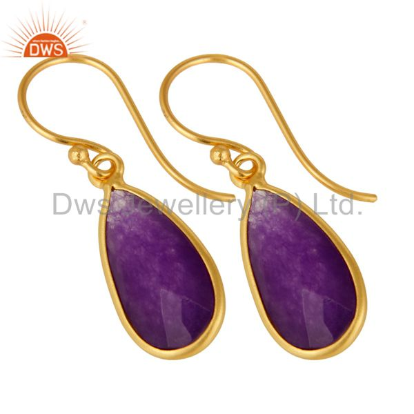 Exporter 925 Sterling Silver Faceted Purple Chalcedony Bezel-Set Gold Plated Earrings