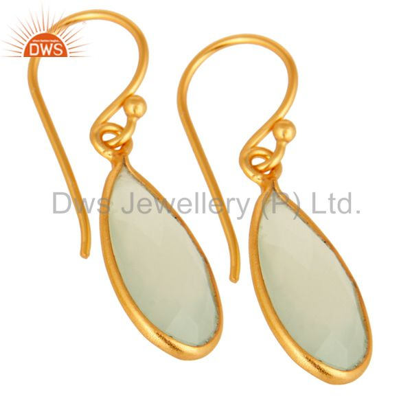 Manufacturer of Faceted Green Chalcedony Teardrop Bezel Set Earrings 14K Gold Plated Over Silver