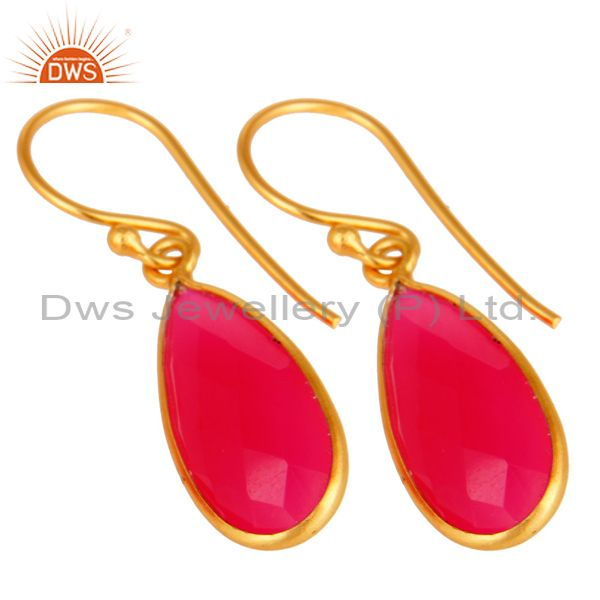Exporter 18K Gold Plated 925 Sterling Silver Pink Chalcedony Dangle Earring Jewelry