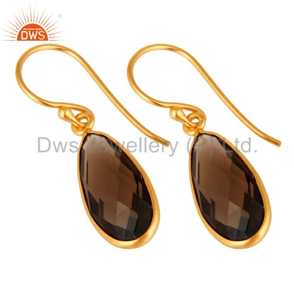 Exporter Sterling Silver Faceted Smoky Quartz Gemstone Drop Earrings - Gold Plated