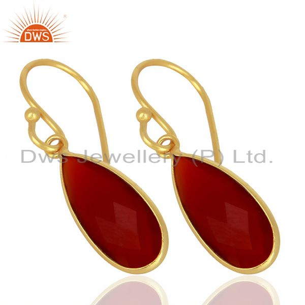 Exporter Red Onyx Drop Bezel Set Gold Plated 92.5 Sterling Silver Earring