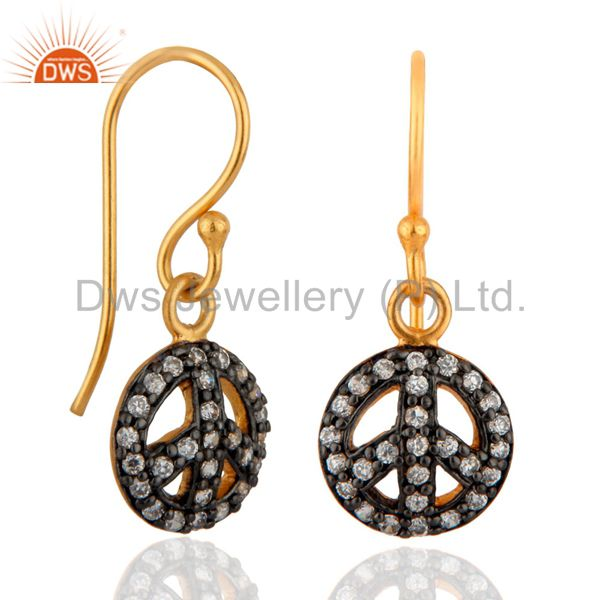 Exporter New Peace Sign Earrings 24k Gold GP Pave Cubic Zirconia Pierced Dangle Jewelry