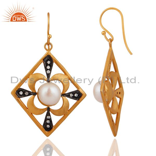 Exporter Handmade Natural Pearl Desinger Bridal Fashion Dangle Earrings With Gold Plated