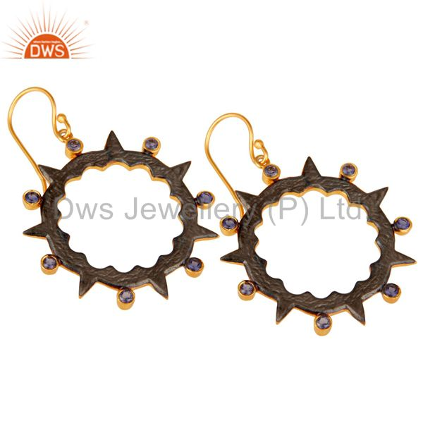 Exporter 18k Gold Plated Round Design Brass Earrings with Iolite