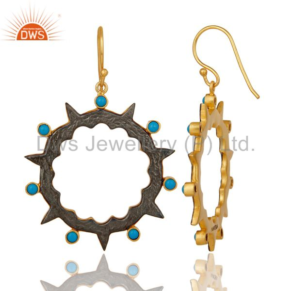 Exporter 18k Gold Plated Round Design Brass Earrings with Turquoise