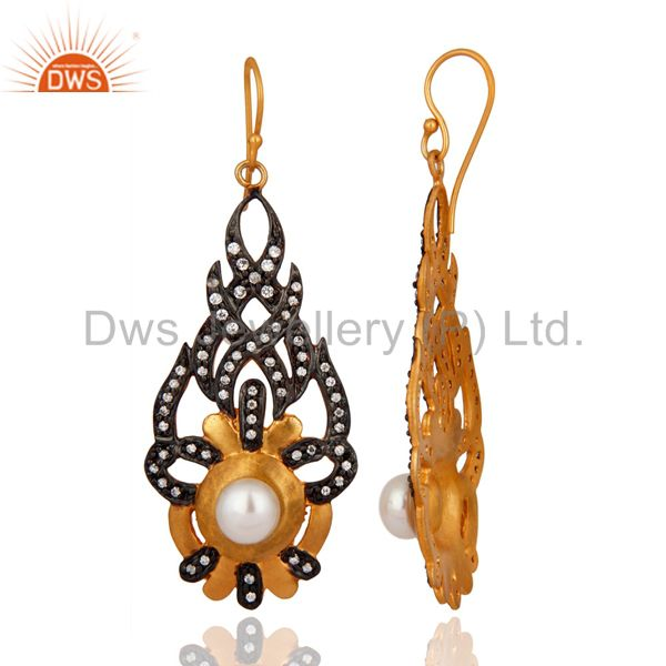 Exporter Cubic Zirconia And Natural Pearl 18K Yellow Gold Plated Fashion Designer Earring