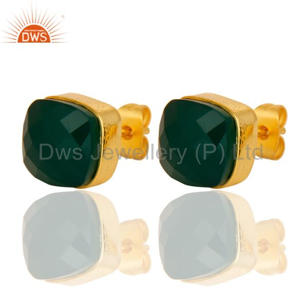 Exporter Faceted Green Onyx Gemstone Studs Earrings With Yellow Gold Plated