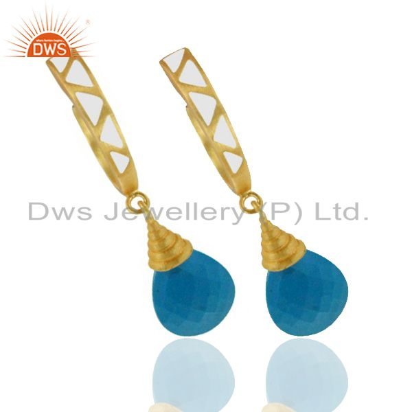 Exporter 18K Yellow Gold Plated Brass Turquoise Drop Earrings With White Enamel