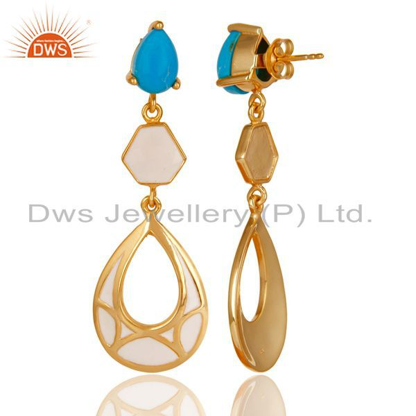 Exporter 14K Yellow Gold Plated 925 Sterling Silver Handmade Turquoise Dangle Earrings
