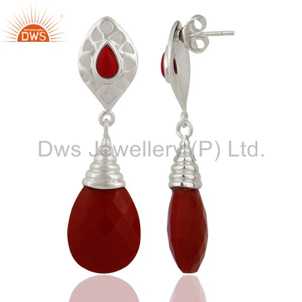 Exporter Handmade Solid Sterling Silver Red Coral Gemstone Fashion Dangle Earrings