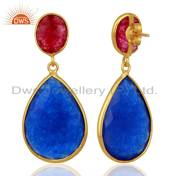 Exporter Multi Color Aventurine Dangle 18K Gold Plated Sterling Silver Earrings Jewelry