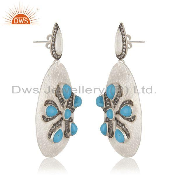 Exporter Fine Silver Plated Brass Fashion Turquoise Gemstone Earrings Wholesale Jaipur