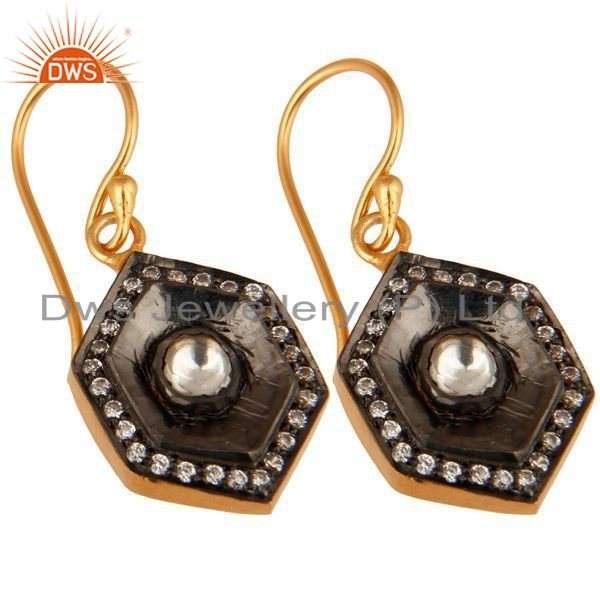 Exporter 18-Carat Gold Plated Sterling Silver CZ Crystal Polki Dangle Earrings
