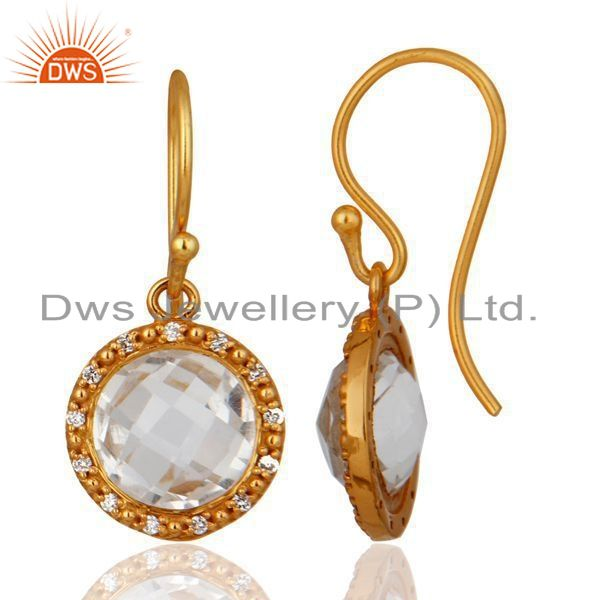 Exporter Natural Quartz Crystal 925 Sterling Silver Hook Earrings Cubic Zirconia Jewelry