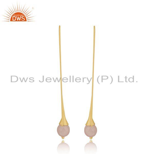 Exporter Gold Plated Brass Fashion Rose Chalcedony Gemstone Earrings Wholesale