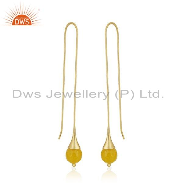 Exporter Chalcedony Gemstone Gold Plated Designer Brass Fashion Earring Jewelry