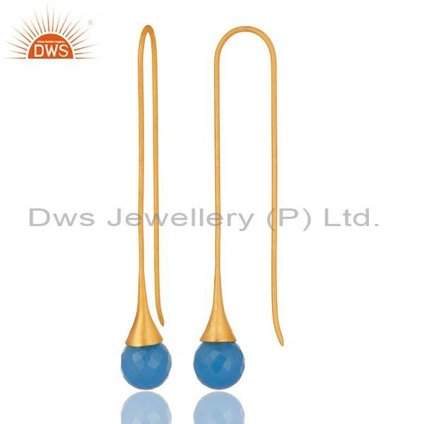 Exporter 18K Yellow Gold Plated Sterling Silver Blue Chalcedony Long Dangle Hook Earrings