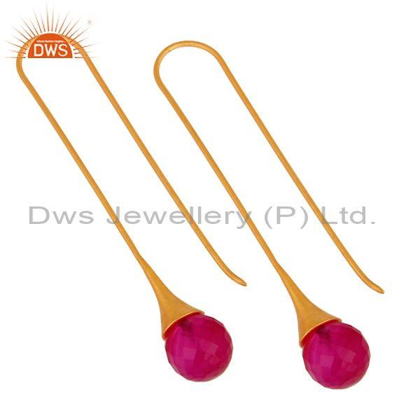 Exporter 14K Yellow Gold Plated 925 Sterling Silver Dyed Pink Chalcedony Dangle Earrings