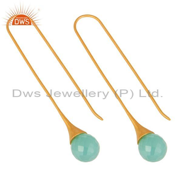 Exporter 14K Gold Plated Sterling Silver Glass Aqua Chalcedony Briolette Dangle Earrings