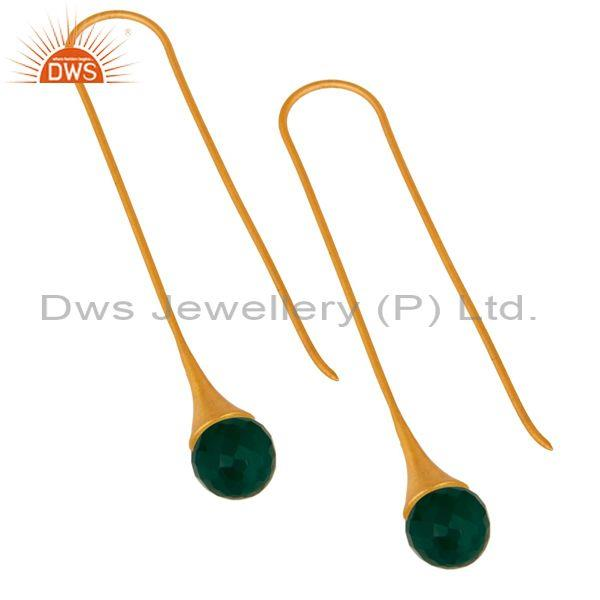 Exporter Faceted Green Onyx Briolette Dangle Earrings In 24K Gold Plated Sterling Silver