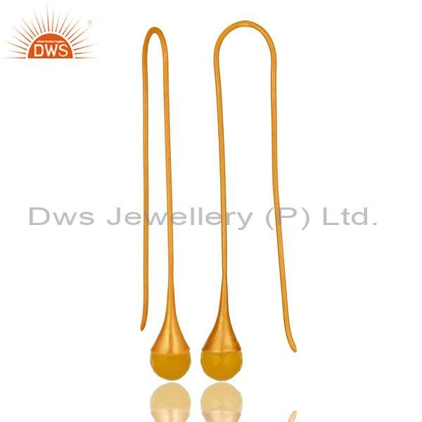 Exporter 14K Gold Plated Sterling Silver Yellow Chalcedony Long Dangle Fashion Earrings