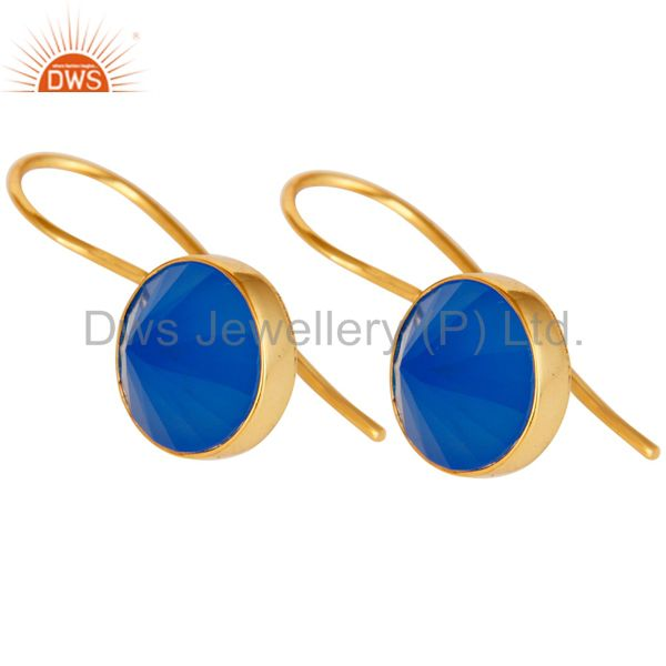 Exporter 18K Yellow Gold Plated Blue Chalcedony Pyramid Earring Sterling Silver Earring