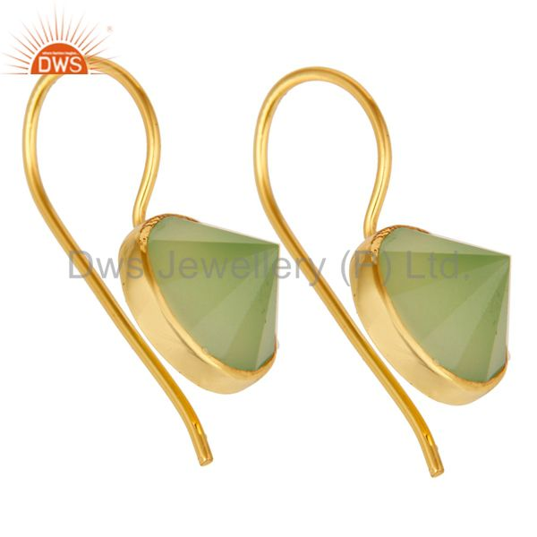Exporter 18K Yellow Gold Plated Prehnite Chalcedony Pyramid Earring Brass Earring