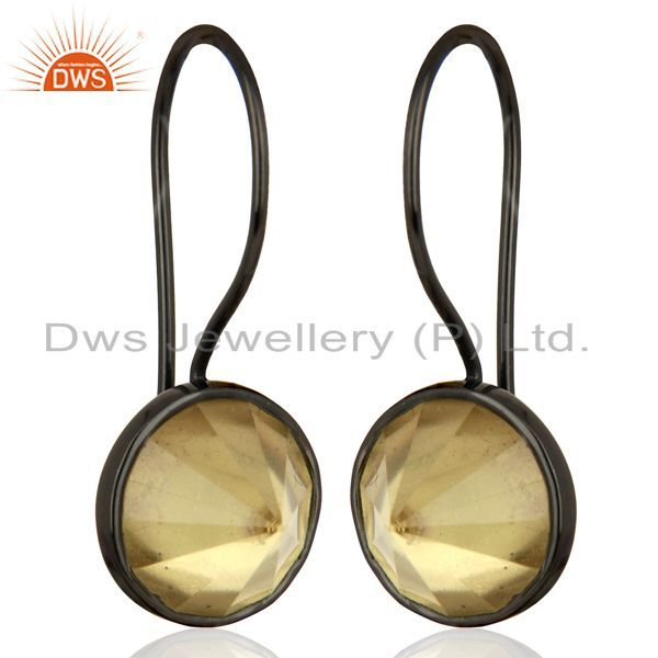 Exporter Lemon Topaz Gemstone Earring Black Rhodium Plated Silver Earrings