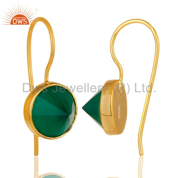 Exporter 18K Yellow Gold Plated Sterling Silver Green Onyx Bezel Set Gemstone Earrings