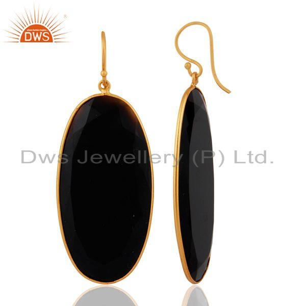 Exporter 925 Sterling Silver Black Onyx Gemstone Dangle Earrings With 18k Gold Plated