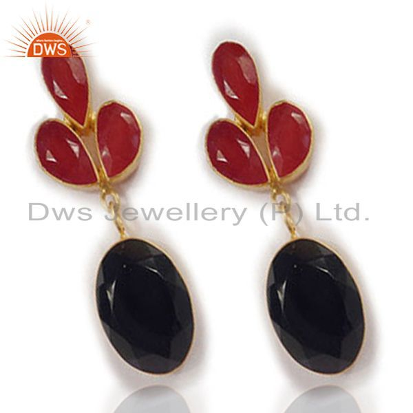 Exporter 22K Yellow Gold Plated Black Onyx And Red Aventurine Womens Dangle Earrings