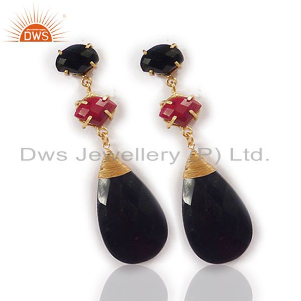 Exporter 18K Yellow Gold Plated Red Aventurine And Black Onyx Womens Dangle Earrings