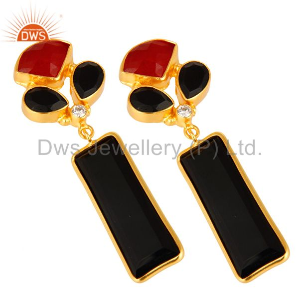 Exporter Red Aventurine And Black Onyx Gemstone 14K Yellow Gold Plated Dangle Earrings