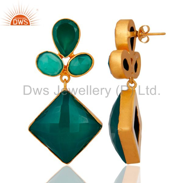 Exporter Handmade Faceted Green Onyx Bezel Set Dangle Earrings With Yellow Gold Plated