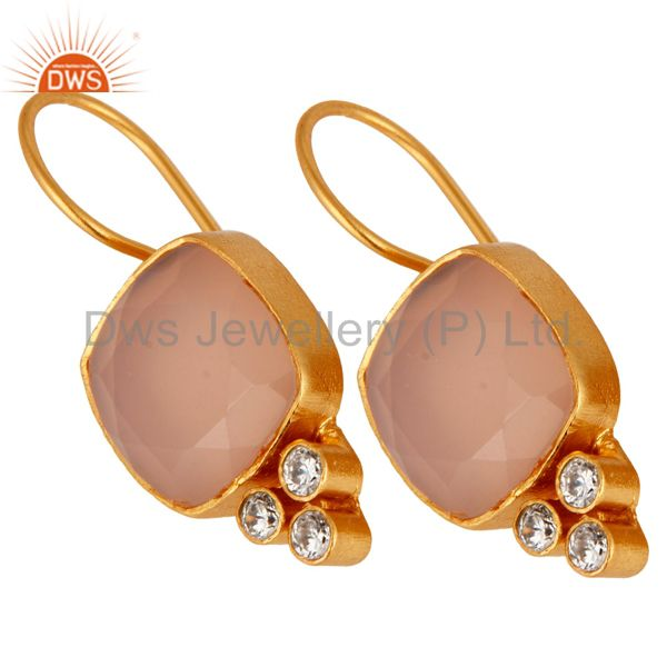 Exporter 24K Yellow Gold Plated Brass Rose Chalcedony Gemstone Dangle Earrings With CZ